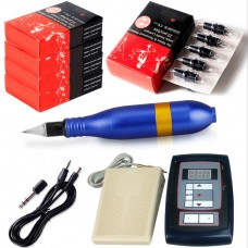 10W Blue Rotary Tattoo Machine Kit Tattoo Permanent Makeup Pen Motor Needle Cartridge