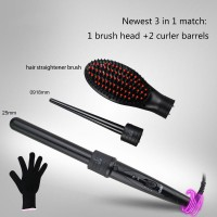 3 in 1 Interchangeable Hair Curler with Hot Brush and Hair Straightener Brush