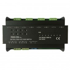 R818-DIN Pro RS485 Controlled Programmable 8 Channel 16A Relay AMX Dimming Module