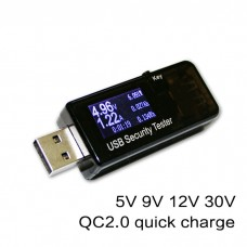 USB Security Tester Capacity Detector 3-30V 0-5.1A QC2/3.0 Current Voltage Charger Capacity