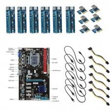 6 GPU Mining Motherboard + 6pcs PCI-E Extender Riser Card for BTC Eth Rig Ethereum