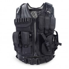 Tactical Vest BLACK Large Military Special Forces Swat Police Hunting Outdoor
