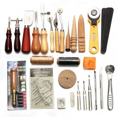 37Pcs Leather Craft Tools Kit Hand Sewing Stitching Punch Carving Work Saddle