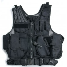 TACTICAL Airoft Paintball Huning Combat Vest with Holster Pouch Black