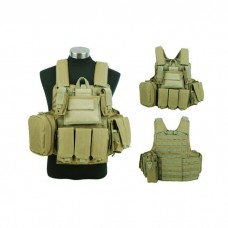 Tactical Molle Plate Carrier Combat Vest Magazine Pouch Military Hunting Tan