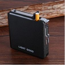 Multi-function Cigarette Case Lighter Automatic Ejection Butane Windproof Metal Box
