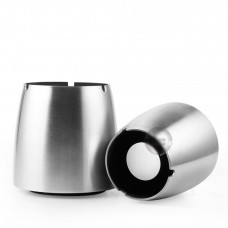 Ashtray Stainless Steel Silver Windproof Cigarette Round Smoking Ash Tray