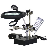 10X Desktop Optical Magnifier Adjustable Magnifying Glass with LED Light Hand Clamp Alligator Clip Stand