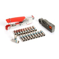 Coaxial Cable Wire Stripper Crimping Pliers Wire Stripping Pliers Kit RG6/RG59 20pcs F Head Cable