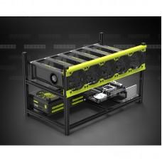 Veddha V3D 6 GPU Delux Mining Rig Aluminum Stackable Case Open Air Frame ETH ZEC