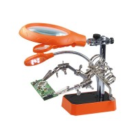 LED Desktop Magnifier Auxiliary Clamp Alligator Clip Stand 5 LED Lights Magnifying Glass for Soldering Repair Tool
