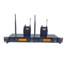 Dual Channel UHF Wireless In Ear Monitor System Transmitter Receiver for Stage Performance 150M