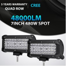 2X Quad Row 7Inch 480W Led Work Light Bar SPOT Offroad Driving 4WD Truck ATV 6""