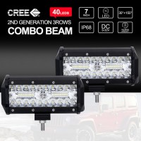 7 Inch CREE LED Work Light Bar 3Rows SPOT FLOOD 4x4 Driving Fog Lamps 2x 400W 7""