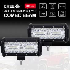 "7 Inch CREE LED Work Light Bar 3Rows SPOT FLOOD 4x4 Driving Fog Lamps 2x 400W 7"""