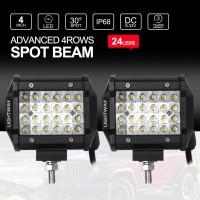 2X 4 inch CREE LED Work Light Bar Quad Rows 240W SPOT 4x4 Car Driving Reverse