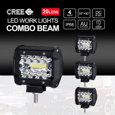 4 Inch CREE LED Work Light Bars SPOT FLOOD Off Road 4x4 Driving Fog Lamp 4x 200W
