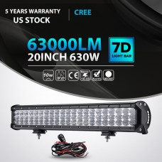 "20 Inch 630W Cree TRI Row LED Light Bar Spot Flood Work Lamp UTE ATV 23"" 22"" 24"""