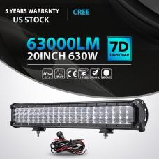 "20 Inch 630W Cree TRI Row LED Light Bar Spot Flood Work Lamp UTE ATV 23"" 22"" 24"""