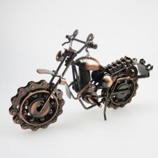 Vintage Motorcycle Model Retro Motor Figurine Iron Motorbike Prop Boy Gift Kid Toy Home Office Decor