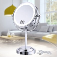 "6"" LED Lights Makeup Mirror Desktop Double Side Mirror 3X Magnification Bathroom Cosmetic Mirror"