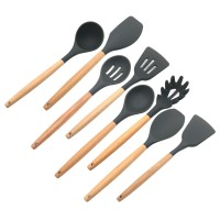8PCS Wood Handle Silicone Cooking Utensils Set Kitchen Slotted Turner Spatula Spoon Ladle Tools