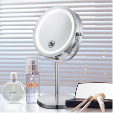 LED Desk Stand Portable Cosmetic Makeup Mirror Double-Sided 5X Magnifying