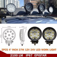 "4"" 27W LED Work Light Bar for Offroad Boat Car Tractor Truck SUV ATV Flood 12V"