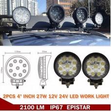 "4"" 27W LED Work Light Bar for Offroad Boat Car Tractor Truck SUV ATV Flood 12V"