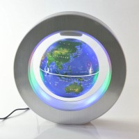 Magnetic Levitation Floating Globe LED World Map O Shape Rotating Magnetic Suspended