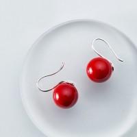 Korean Fashion Ear Stud Scoop Shaped Red Pearls Earrings Women Girl Eardrop