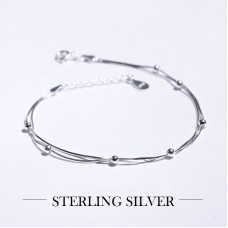 Charm 2 Layer Platinum Bracelet Chain Link Silver Plated Fashion Round Ball Wedding Bridal