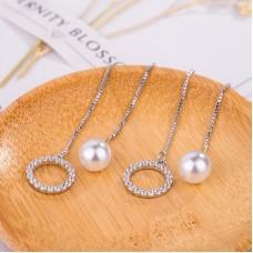 Charming Circle Ring Pearl Dangle Ear Studs Long Drop Earrings Women Party Jewelry