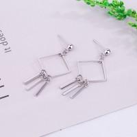 Fashion Asymmetric Tassels Geometric Square Earrings Stud Dangle Jewelry Silver Plated