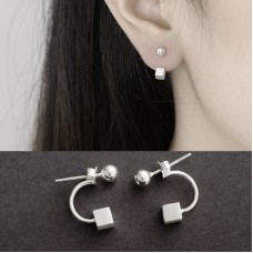 Simple Square Block Studs Earrings Cube Pins Needles Hanging Earrings for Girls