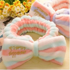 Big Bow Dot Flannel Striped Soft Hair Band Head Wrap Headband Bath Spa Headband Make Up