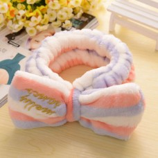 Big Bow Dot Striped Soft Flannel Hair Band Head Wrap Headband Bath Spa Headband Make Up