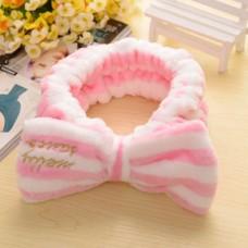 Lovely Big Bow Dot Striped Flannel Soft Shower Hair Band Wrap Headband Bath Spa Make Up
