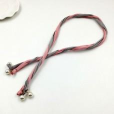 Sweet Women Double Color Headband Hair Band Pearl Hair Rope Twist Headwear