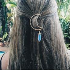 Women Vintage Moon Hexagonal Pendant Hair Ornaments Charms Clamp Hairpin