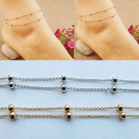 Copper Beads Anklets Copper Multi Chain Bracelet Double-layer Chains Anklets