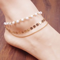 Charm Multilayer Foot Chain Beads Chain Anklet Tassel Chain Women Bracelet Paillette Jewelry