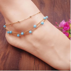 Multilayer Copper Beads Anklets Women Plated Foot Chain Ankle Bracelet Barefoot Jewelry