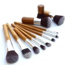 Fashion 11Pcs Bamboo Handle Cosmetic Beauty Make-up Brushes Set Pro Tools