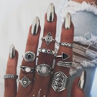 Retro Knuckle Ring Set for Women Fashion Femme Stone Silver Midi Finger Rings Boho Jewelry