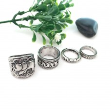 4Pcs Vintage Boho Beach Ring Set Unique Carved Silver Elephant Totem Leaf Rings for Women Jewelry