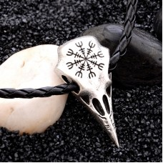 Viking Charms Vintage Punk Ethnic Totem Crow Skull Pendant Leather Chain Necklaces Womens Chic Jewelry