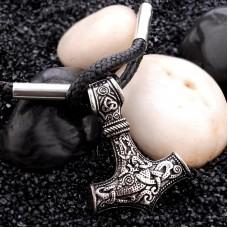 Viking Bracelet Ancient Goat Thor's Hammer Bracelet PU Chain Totem Amulet Wristband for Men Jewelry