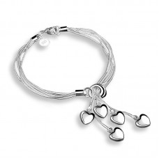 Silver Color Jewelry Heart Shape Bracelet Charms Style Chains Bracelets for Women