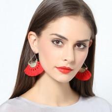Women Ethnic Bohemia Boho Fan-shaped Tassel Fringe Dangle Drop Ear Stud Earrings